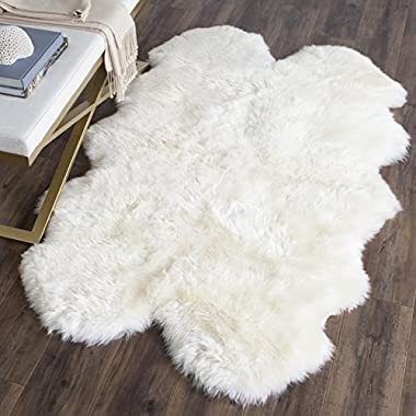 Safavieh Sheepskin Collection SHS121A Genuine Sheepskin Pelt White Premium Shag Rug (3'7  x 5'11 )