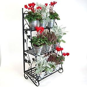 Plant Theatre Kräuter- und Blumentreppe, klassisches Metalldesign, Schwarz