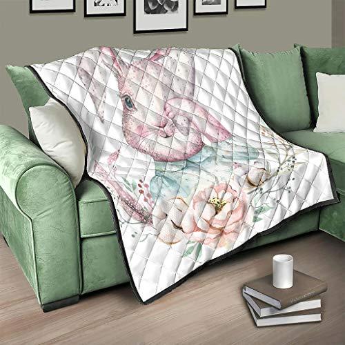 AXGM Colcha de conejos de Pascua, manta para el salón, manta cálida, sillón blanco, 130 x 150 cm