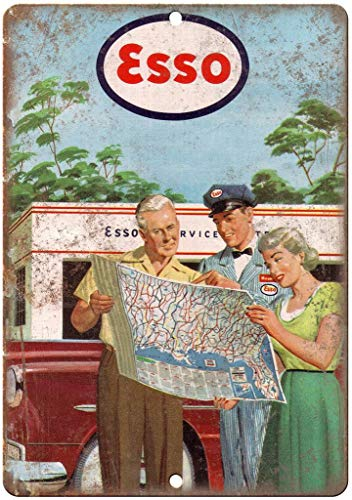 NOT Esso Gas Service Station Map work2 - Cartel de chapa para pared, diseño clásico de hierro, decoración de pared, arte popular hecho a mano, para bar, cafetería, tienda en casa, cochera