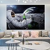 KWzEQ Astronauta de la Tierra del Espacio Exterior Bebiendo Cerveza Lienzo Pintura en la decoración de la Sala de Arte de la Pared,Pintura sin Marco,60x90cm