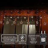 LED Lichterkette 12 Sterne, Lichtervorhang weihnachtslichter Sternenvorhang 138 LEDs 8 Modi Für Innen Außen, Weihnachten, Party, Hochzeit, Garten, Balkon, Deko (Warmweiß) - 5