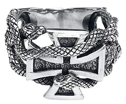 etNox Eisernes Kreuz mit Schlangen Männer Ring silberfarben S