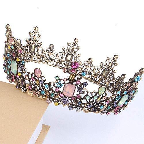 6 cm de alto multicolor cristal oro grande corona redonda boda fiesta desfile