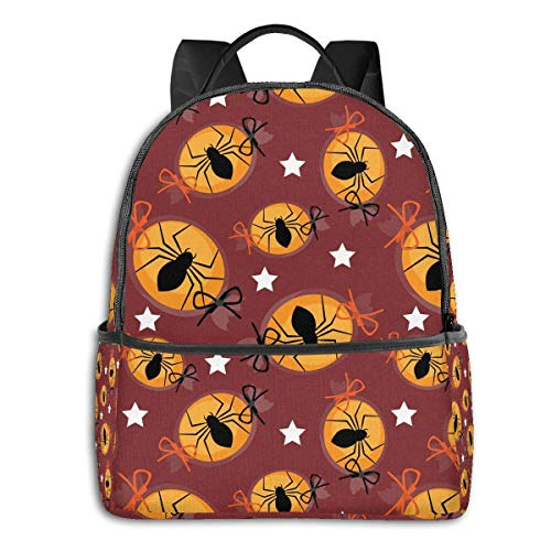 Lawenp Happy Halloween Fall Cute Spider Candy Multi-Functional College Bags Students High School Girls Casual Daypack Kids Travel Backpack School Laptop Bookbags Teens Boy Outdoor Accessories