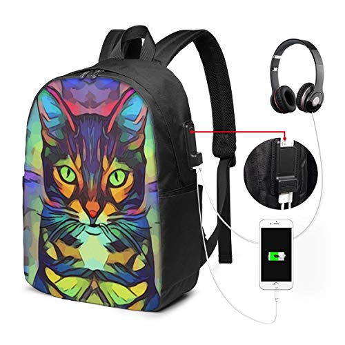 Neon Cat Laptop Backpack, Business Travel Work Laptop Bag with USB Charging Port, Waterproof Backpack for Girls Men Women, Anti-Theft College School Gift Backpack