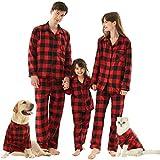 Cat Dog Owner Matching Pajamas, Buffalo Plaid Holiday Xmas Pajamas for Pets Red Large