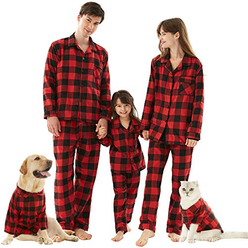 Christmas Pyjamas Family Set, Soft Cotton Buffalo Plaid Holiday Pj Couples Pajama Button Down Nightwear for Womens Mom Size M