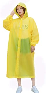Kuke レインコート 丈夫なEVAレインケープ ユニセックス レインポンチョ フードとスリーブ付き 再利用可能 One Size イエロー YAKK-RR-A878-Y