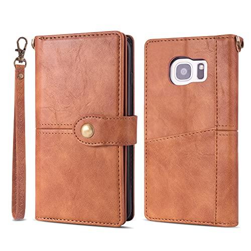 Cubierta protectora Para Samsung Galaxy S7 Edge Wallet-Style Teléfono Titular de la tarjeta PU Funda de cuero Hebilla magnética A prueba de golpes Muñeca extraíble Flip Funda de teléfono Adecuado para