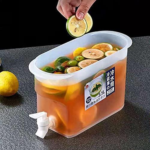 BEAUTTO Dispensador de bebidas, Jarra de agua de 3,5 l con grifo Jarra de jugo de limón para refrigerador Dispensador de bebidas de plástico con tapa, Infusor de agua de hielo grande reutilizable