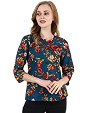 TUSI Fashion Women's Regular Fit Printed Crepe Round Neck 3/4 Sleeves Casual Tops