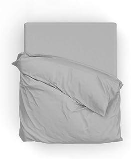 Drap Housse 100% Satin de Coton 70 Fils, Bonnet 30 cm Toucher Soyeux (Gris Clair, 160x200 cm)