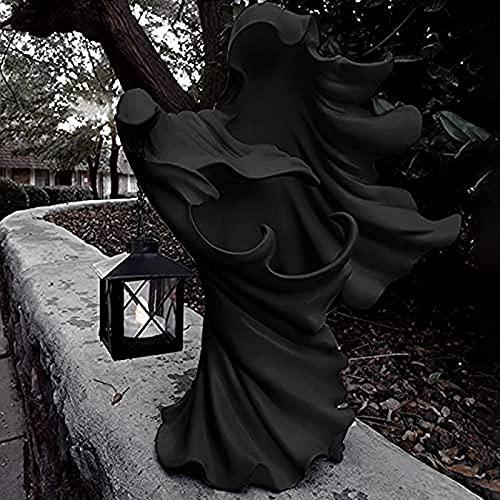 Mensajero del Infierno con Linterna -la Estatua del Fantasma Que Busca la luz,Cadáver Horrible Fantasma sin Rostro Realista,Adornos Resina decoración Patio lámpara Witch Ghoul (Black)