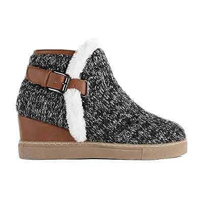 LAICIGO Women's Ankle Buckle Wedge Boots Platf...