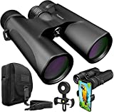 Stellax ZoomX Binoculars for Adults 10x42 Waterproof Binocular Prism BAK4 FMC Lens HD Binoculars for Bird Watching Hunting Traveling with Smartphone Adapter Carrying Bag Black