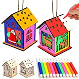 BEIGUO 2 Pack Wooden Christmas Ornaments Unfinished Wood Christmas House with LED Light Christmas Crafts for Kids Boys Girls DIY Christmas Decorations Party Favors
