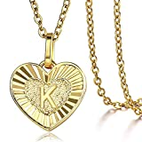 Trendsmax Heart Love Initial Letter K Alphabet Pendant Necklace Gift for Women Girls Gold Plated Stainless Steel Rolo Link Chain Necklace Length Personalized
