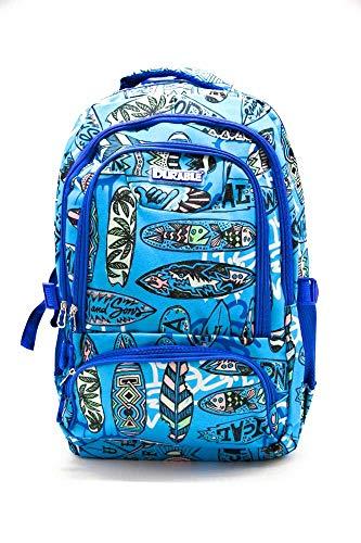 Mochila Escolar Juvenil Tablas de Surf Azul con Varios Compartimentos.Medidas 50x30x20 cm.Colección 2019