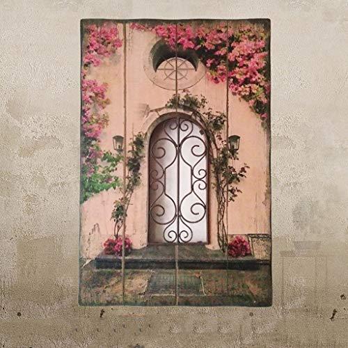 Dekoration Pastoralen Stil Retro Holz Malerei Kreative Gefälschte Fenster Wanddekoration Wohnzimmer Wände Wand Bars Bar Wanddekorationen (Color : D)