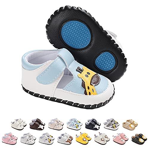 Zapatos Bebe Niña Niño, Zapatillas Bebe Primeros Pasos Animal de Dibujos Lindo Zapato de Cuero PU Zapatos de Casa Diarios Ligero Antideslizante Zapatos Recien Nacido 6-12M