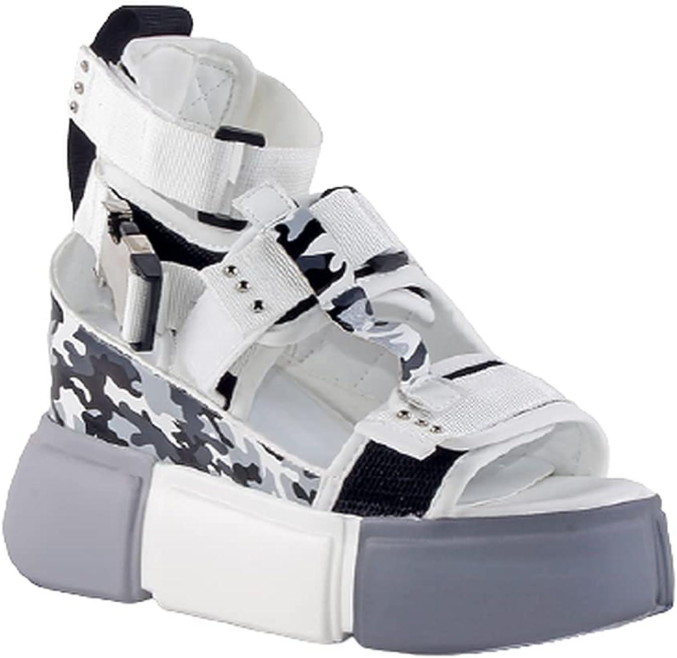 ANTHONY WANG Cranberry-07 White Camo Ret Toe Platform Wedge Latest item New product! New type Open