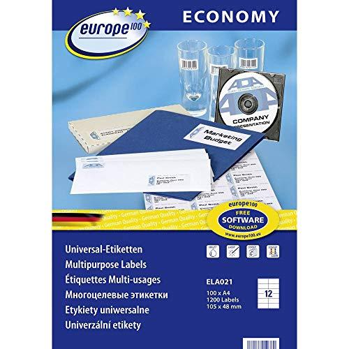 europe100 ELA021 Universal Etiketten A4 (105x48 mm, 1200 Etiketten auf 100 Blatt, selbstklebend, 3424) weiß