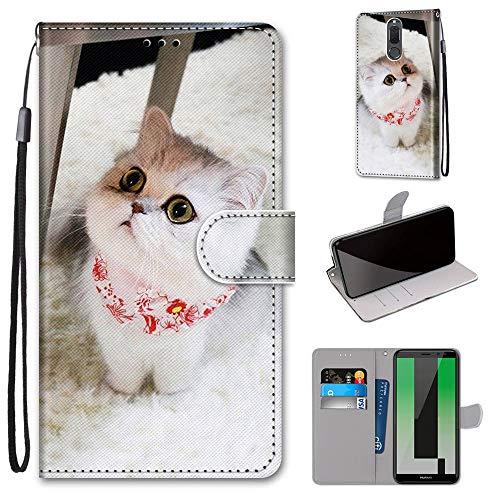 Miagon Flip PU Leder Schutzhülle für Huawei Mate 10 Lite,Bunt Muster Hülle Brieftasche Case Cover Ständer mit Kartenfächer Trageschlaufe,Schal Katze