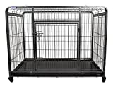 The Pet Store Premium Dog Crate with Lockable, Removable Nylon Wheels, Large
