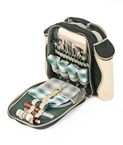 Greenfield Collection Deluxe - Mochila de Picnic para Cuatro Personas, Color Verde Bosque