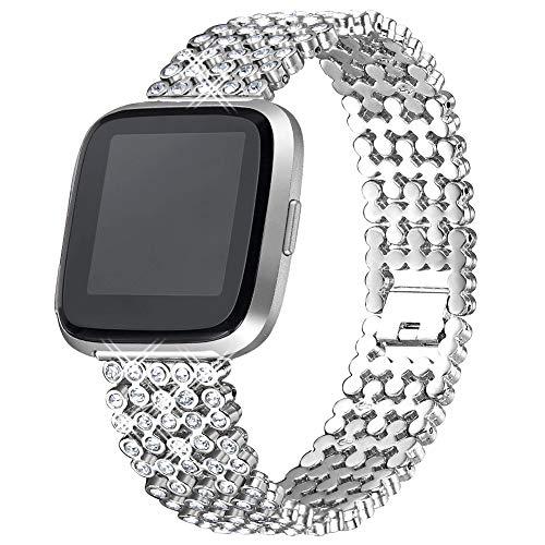 FunBand für Fitbit Versa/Versa 2/Versa Lite Armband für Frauen,Luxus Edelstahl Metall Armband Zubehör Mit Bling Strass für Fitbit Versa/Versa 2/Versa Lite Smartwatch