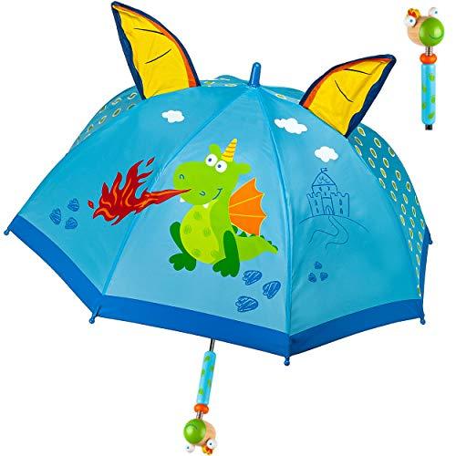 alles-meine.de GmbH Kinderschirm / Regenschirm _ Motivwahl _ Mädchen & Jungen - Drache & Ritterburg - 3D Effekt - Jungen Ø 73 cm - Kinder - Stockschirm - groß mit Griff - Holzgri..