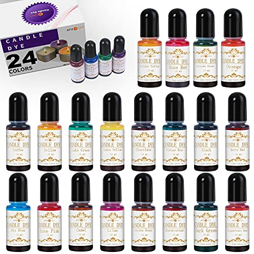 HTVRONT Candle Dye - 24 Assorted Colors Candle Making Supplies Liquid Candle Dye Set for Candle Making, 0.35oz/10ml Safe & Natural Candle Color Dye for Soy Wax, Beeswax, Gel, Palm Wax (24 Bottles)