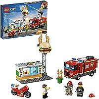 LEGO 60214 City Fire Brand bij het hamburgerrestaurant bouwset met truck en motorfiets speelgoedvoertuigen, brandweerman...