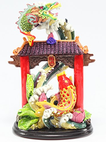 Feng Shui Dragon Gate Waterfall for Courage Achievement Success & Perseverance Statues Figurine Wealth Lucky Figurine Home Decor Gift US Seller (Dragon Gate Waterfall LY027)