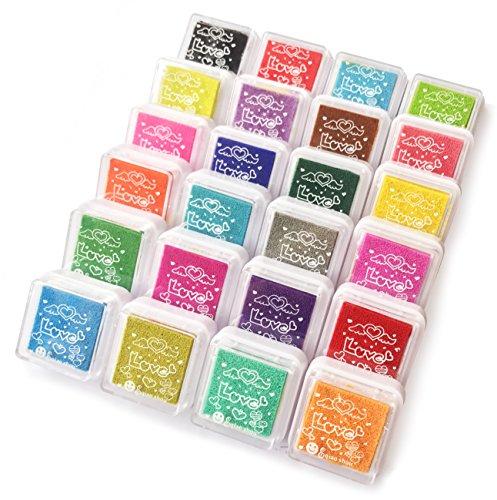 Bestele Stempelkissen Bunt, 24 Farben Stempelfarbe Waschbar Fingerabdruck Set,Wasserlöslich Stamp Pad Tinte Pads Stempel Mehrfarbig für Hochzeit Scrapbooking Handwerk Stoff Malerei Party Kinder