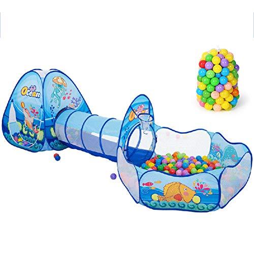 XIAO&Z Kinderzelt Spielzelt Kinder Tunnelzelt für Kinder Baby 3 in 1 Spielplatz mit Basketball Box Tunnel für Zuhause und im Garten 100 Meeresbälle,Blue