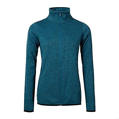 Dolcevida Women's Long Sleeve Running Sweatshirt Full-Zip Fleece Jacket (Medium, Dark Blue)