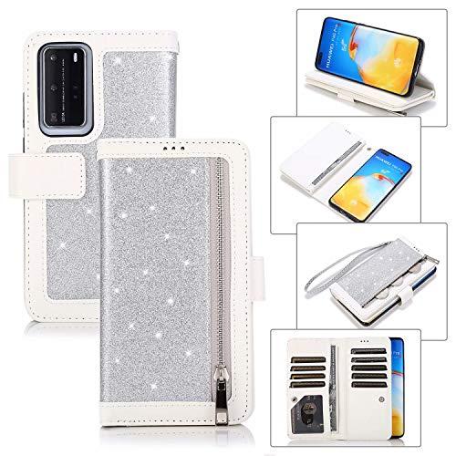 Miagon für Huawei P40 Reißverschluss Brieftasche Hülle,Bling Glitzer Leder Handyhülle 9 Kartenhalter Flip Magnetverschluss Stand Schutzhülle Tasche und Handschlaufe