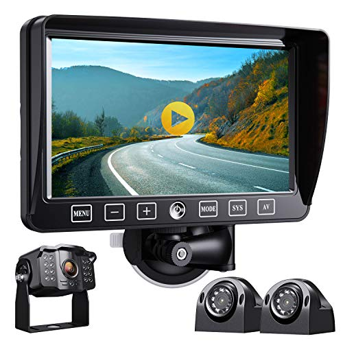 Xroose Backup Camera with 7 Monitor Built-in Upgraded Recorder for RV Semi Box Truck Camper Motorhome 4 Quad DVR Screen 1080P HD Waterproof IR Rear + Side View Wired Reverse Backing Up Cam System Y3