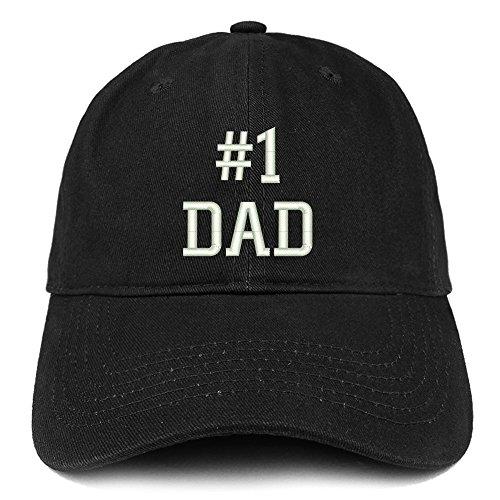 Trendy Apparel Shop Number 1 Dad Embroidered Brushed Cotton Dad Hat Cap/Black