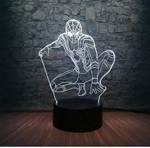 OUUED Wonder Figure Spider-Man Action Hero 3D LED Night Light Multicolor Dormitorio Control remoto Touch Night Light Festival Decoración Niños Regalo Juguetes