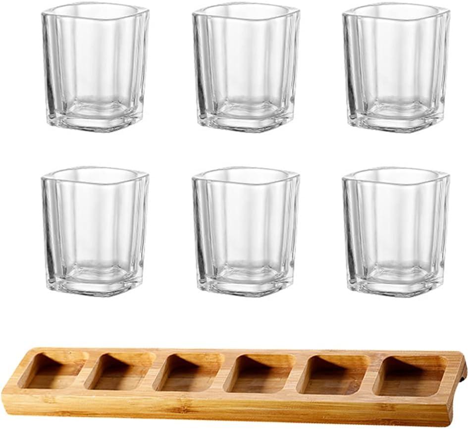 NUOBESTY Juego de 6 copas de vino cuadradas con bandeja de madera, vaso de chupito líquido, transparente, para fiestas, bar, club