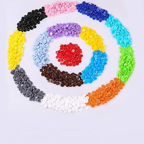 BiaBai 600 Uds 15 colores DIY ropa T5 sujetador de plástico broche de presión Kit de tela con tachuelas de resina Kit de ropa para niños Clips de ropa