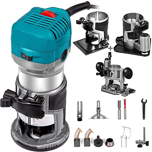 Mophorn 6.5Amp 1-1/4 HP Wood Router Tool Kit Max Torque 30,000RPM Variable Speed Compact Router Kit With Fixed Base, Plunge Base, Tilt Base and Offset...