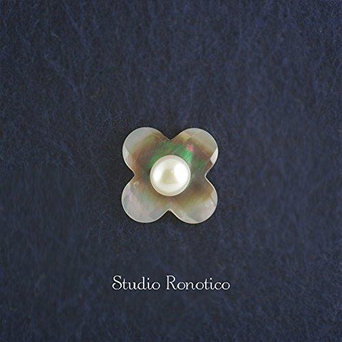 ロノティコ『黒蝶貝と本真珠淡水パールのブートニエールピンブローチラペルピンタイタック』