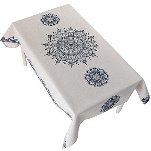 Nclon Coton Chanvre Nappe,Style Ethnique Nappe Cuisine Carré Rectangulaire Table à Thé épaississement Nappe De Table-C 140 * 180cm