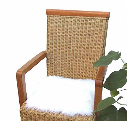 Heino Felle eckige Sitzauflage aus australischen Lammfellen, Fellkissen naturweiß, ca. 35x35 cm, waschbar, Haarlänge ca. 70 mm