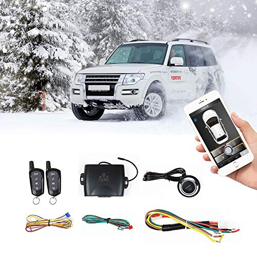 Universal Car Remote Starter Keyless Entry One Key Engine Start for Car with Shock Sensor Car Alarm System Remote Key or Phone Control