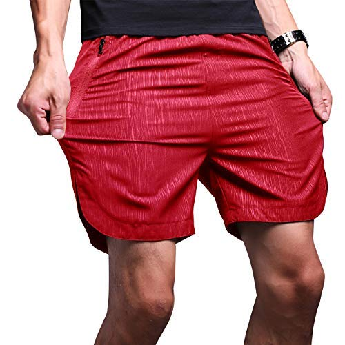 LTIFONE Mens Gym Quick Dry Shorts Workout Training Running Vertical Stripe Shorts with Zipper Pocket (Red,L)